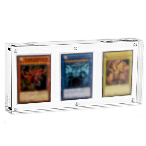 Iriisy TCG Karten Transparent Rahmen Magnetisch Display Halter 35PT Acryl Hüllen Durchsichtig Schutzhüllen Für PTCG YGO Magic (3 Kartensteckplatz)