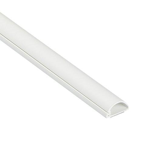 D-Line Micro+ Moulure décorative en demi-Cercle |1M2010W| Goulotte électrique | Cache-câble | 20mm x 10mm - 1m longueur, Blanc