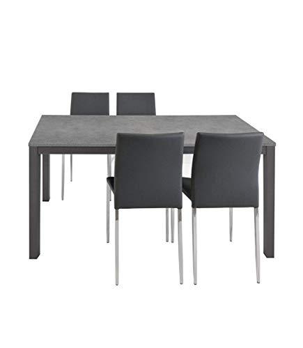 Spazio Casa Tavolo Grigio allungabile Moderno da Cucina - 110 x 70, Grigio