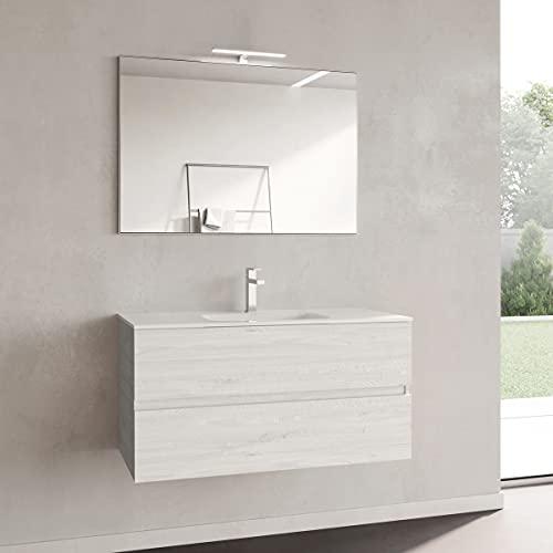 Yellowshop. - Mobile Bagno sospeso 80 cm Stile Moderno 2 cassetti lavabo specchiera LED MOD. Andre Plus (Alaska)