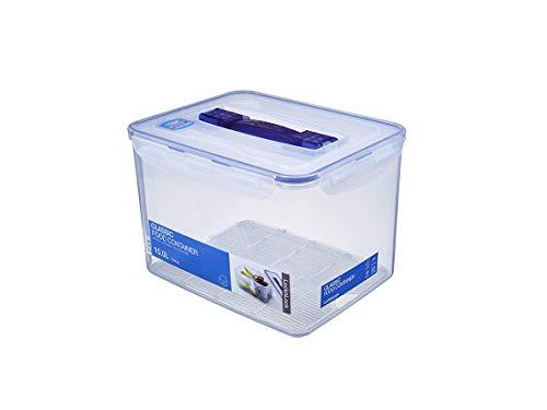 LocknLock PP Classic Aufbewahrungsbox mit Griff und Gitter, 10 L, 295 x 230 x 203 mm, 100 % luft- und wasserdichte Vorratsbox, Cleveres Verschluss-System, Aufbewahrungsbox mit Deckel