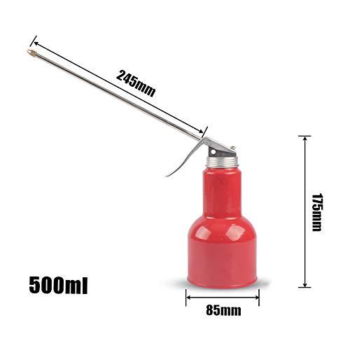 MOC Aceitera de plástico de mano, bomba de aceite, herramienta para latas, boquilla recta y flexible (300 ml, metal 245 mm)