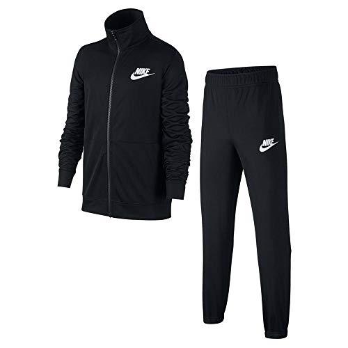 Nike Jungen B NSW Poly Tracksuit, Black/White, M