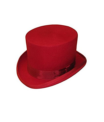 Chapeau haut de forme TFXWERWS - En feutre non-tissé - Doublé en satin - Rouge