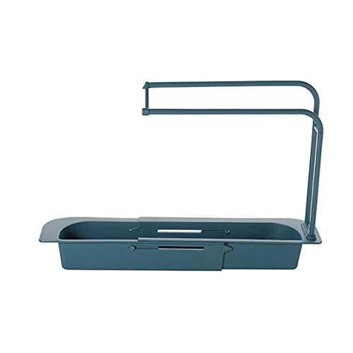 Soporte telescópico para fregadero, soporte de jabón de esponja ajustable, cesta de drenaje expandible, bandeja de escurridor 2 en 1 para fregadero de cocina en el hogar