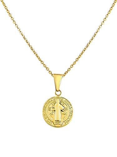 LUAMAYA San Andres Necklace | Hochwertige Damen Halskette mit Münz Anhänger aus Edelstahl in Gold, Silber und Roségold (Gold)