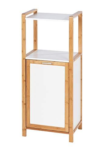 WENKO Hylla Finja tillverkad av bambu med tvättlåda – badrumshylla med tvättsamlare kapacitet: 30 l, bambu, 40 x 95 x 30 cm, brun