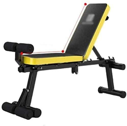 Candtong Bett, Fitness Bauchmuskel Board Gewichtheben, Sit-ups Rahmen einstellbar Fitness Stuhl Multifunktions-Hantel Stuhl zu Hause Übung Fitness Stuhl Falten (Farbe : Yellow)