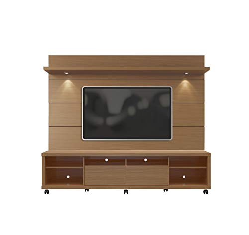 "Manhattan Comfort Cabrini Modern LED Lighted Television Stand and Wall Mounted Panel, 85.8"", 85 Inches, Maple Cream"
