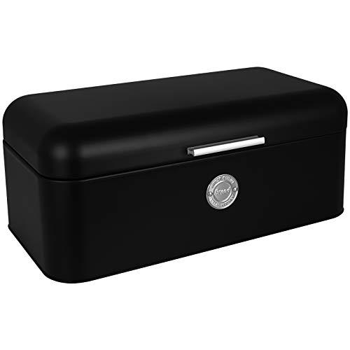 TW24 Brotkasten Bistro schwarz mit Klappdeckel und Griff Brotbox Metall Brotbehälter Brotkiste Brot Aufbewahrungsbehälter
