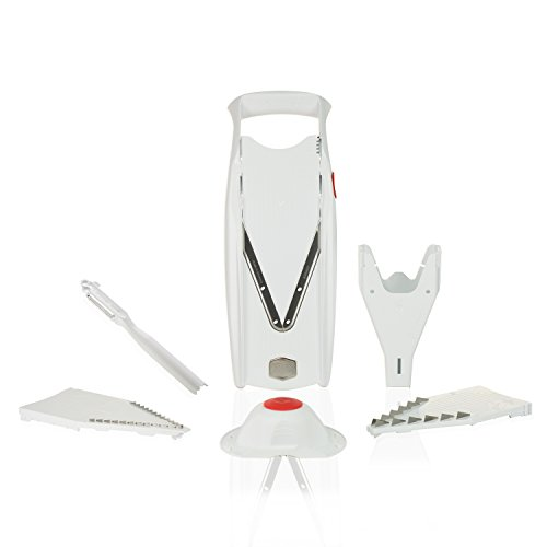 Borner V5 Plus Set straight from the manufacturer. Includes V5 Powerline Slicer,slicer Insert, 3,5mm and 7mm Blade Inserts,food Safety Holder,storage Box and Borner Combi-peeler (white)