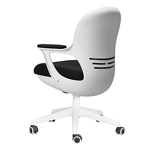 zdz Silla de Oficina Ajustable con Soporte de polea, Silla ergonómica de Escritorio de Malla de Espalda Alta con reposabrazos, para Oficina, Dormitorio, hogar (Color : White)