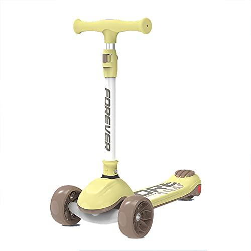 Scooter para niños - Scooter de 3 Ruedas, Scooter de Altura Ajustable para niños, Magro para dirigir con la PU Extra Ancha LED Light RUEDES, para NIÑOS Y NIÑAS DE 3 AÑOS Y UP,Amarillo