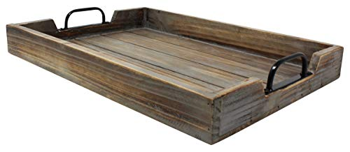 Large 14x20 Decorative Nested Vintage Wood Serving Tray For Coffee Table or Ottoman – Rustic Wooden Breakfast Trays For Kitchen, Dining Room, or Living Room – Farmhouse Platter w/Handles - Barnwood