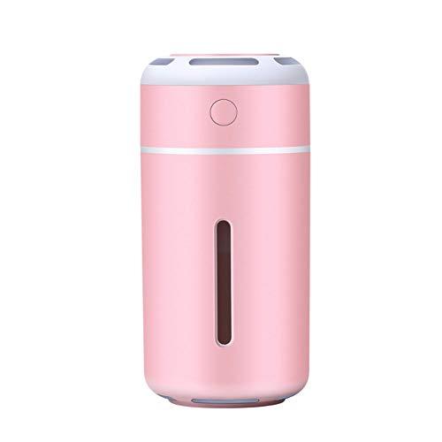GLYP Humidificador 230ml, Niebla Fría Portátil con 7 Luces LED Que Cambian De Color para Dormitorio, Cuarto De Baño, Sala De Estar (Rosa)