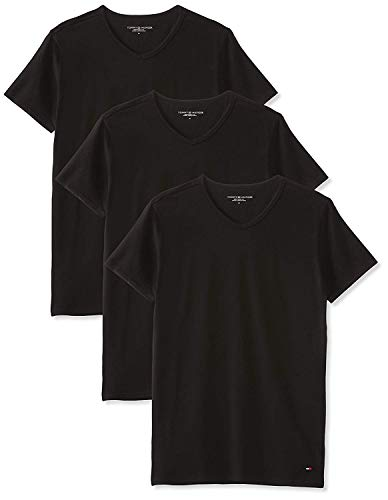 Tommy Hilfiger Stretch V neck 3 pack premium ess Maglietta, Nero (Black 990), Small (Pacco da 3) Uomo