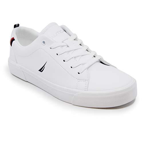 Nautica Townsend - Zapatos casuales con cordones para hombre, estilo clásico, zapatos de moda, blanco (Graves-blanco/azul marino), 44.5 EU