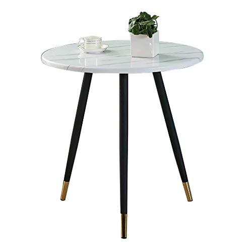 N/Z Tägliche Ausstattung Tische Schreibtisch Couchtisch Runde Marmor Tischplatte Light Nordic Style Freizeit Verhandlungstisch/Nachmittagstee Tisch Weiß 80x70cm