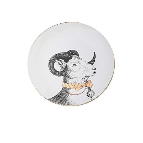 ZRJ Platos de cena Platos de cena de porcelana premium Platos de servir platos plato plato de animales con borde dorado (Color: B)