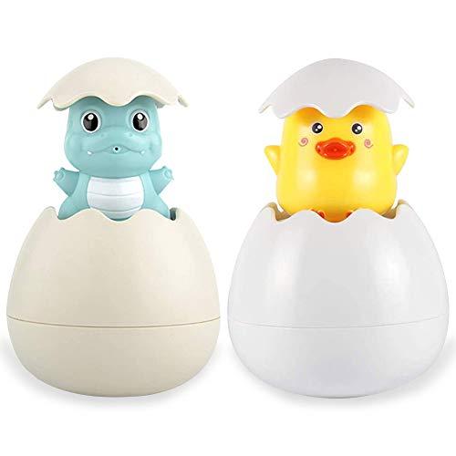WENTS Baby Badespielzeug - Miotlsy 2 Stück Badespielzeug für Babys Ente Dinosaurier schwimmende Sprinkle Ei Kinder Wasserspray Spielzeug Nettes Badespielzeug für Badewanne Dusche Schwimmbad