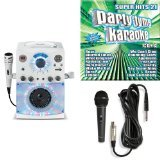The Singing Machine SML-385W Disco Light Karaoke System (White) with Karaoke Party CD Pack, and Extra Microphone