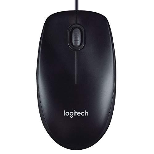 Logitech M90 Maus mit Kabel, 1000 DPI Sensor, USB-Anschluss, 3 Tasten, Für Links- und Rechtshänder, PC/Mac - schwarz, Englische Verpackung