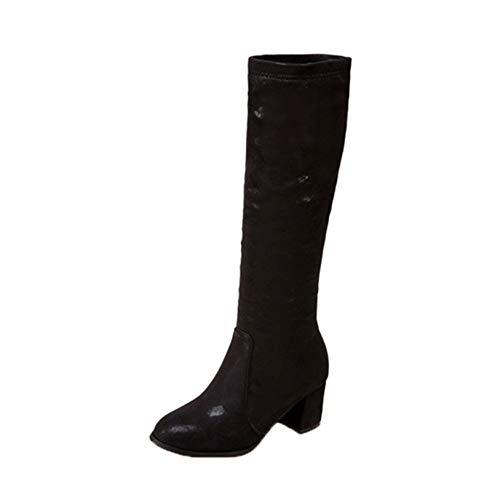 Botas largas de Invierno para Mujer cómodas Botas de tacón Cuadrado Antideslizantes con Punta Redonda y Cremallera Zapatos cálidos para Fiesta de Mujer Botas Altas Informales hasta la Rodilla (Ropa)