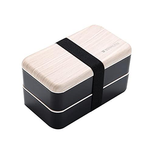Caja de almuerzo de plástico de doble capa con textura de madera para estudiantes con compartimento para microondas con tapa