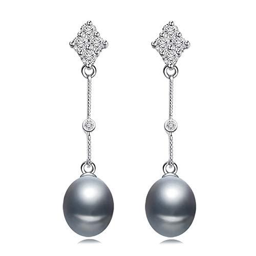 DJMJHG Pendientes de Perlas de Bohemia, joyería de Plata 925, Pendiente de Perlas de Agua Dulce Natural para Mujeres, Regalo de Boda de Moda para niñas,Pendiente de Perlas Grises