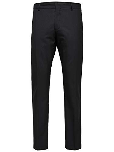SELECTED HOMME Herren SLHSLIM-MYLOHIGH TRS B NOOS Anzughose, Schwarz (Black Black), W34(Herstellergröße: 98)