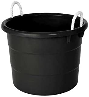 Storage Tub w/Rope Handles, 18 Gal, Black