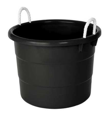 Storage Tub w/Rope Handles, 18 Gal, Black