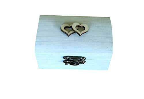 Caja anillos boda de corazón,caja anillos compromiso especial bodas rústicas,color blanco 11 y dentro arpillera o encaje vintage. Medidas 8,5x5x4,5 cm.