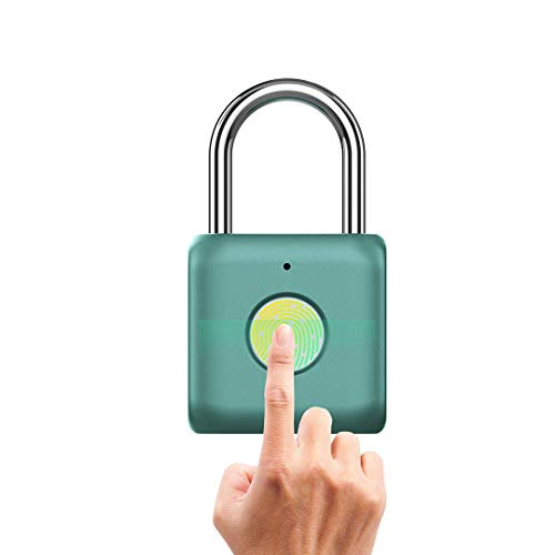 BOREAD Fingerprint Padlock, Smart Keyless Lock for Locker, Backpack, Suitcase, Travel Luggage,Cabinet, Drawer, Indoor, School Locker Lock,Portable USB Rechargeable (Green)