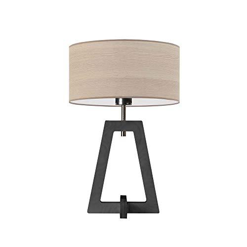 CLIO ECO - Lámpara de noche con pantalla de roble blanqueado, marco de madera de ceniza