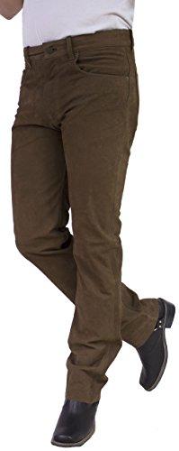 RICANO Jeans 01 NK Herren Lederhose, Büffel Nubuk Echtleder (34, Braun)