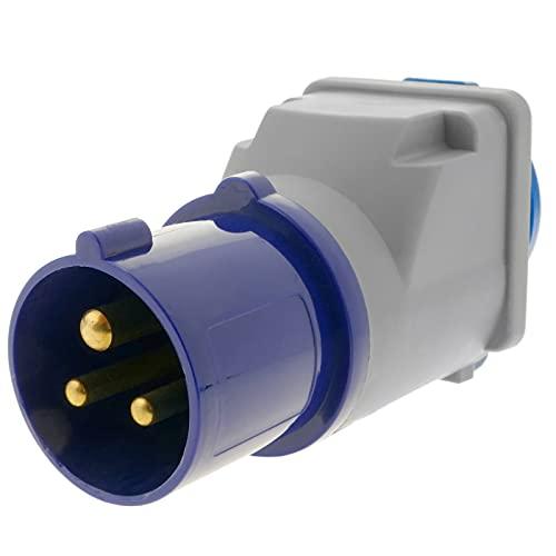 BeMatik - Enchufe industrial Adaptador CETAC macho a SCHUKO hembra 2P+T 16A 250V IP44 IEC-60309