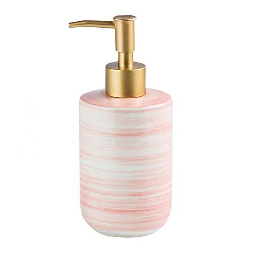 Household Dispensador de Jabón Loción de cerámica Botella Exquisita Mármol Mármol Loción Dispensador Dispensador de jabón con Bomba Golden Frosted 350ml / 11.8oz Dispensador de Loción (Color : Pink)