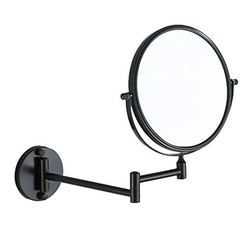dailymall 1x   3x Espejo De Maquillaje De Doble Cara Montado En La Pared Con Aumento, Espejo De Doble Cara Con ángulo Ajustable Para Tocador De Baño - Negro