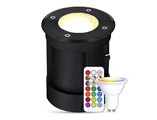 lambado® LED Bodenstrahler für Außen mit RGB Farbwechsel dimmbar inkl. Fernbedienung - Schwarz runde Bodenleuchte/Bodeneinbaustrahler IP67 - Befahrbar & Wasserdicht