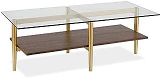 Henn&Hart Glass and Walnut Shelf Coffee Table