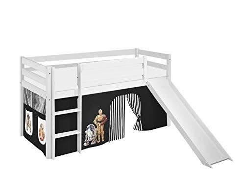 Lilokids Spielbett Jelle Star Wars, Hochbett mit Rutsche und Vorhang Kinderbett, Holz, schwarz, 208 x 98 x 113 cm