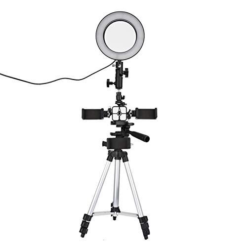 Fotografía Regulable LED Video Live Studio Camera Ring Light Photo Phone Video Light, soporte de trípode extensible y soporte de teléfono flexible para transmisión en vivo/maquillaje/video de YouT
