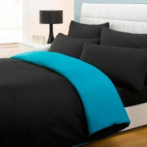4PC COMPLETE REVERSIBLE BLACK/TEAL SINGLE DUVET COVER & FITTED SHEET BED SET by Viceroybedding