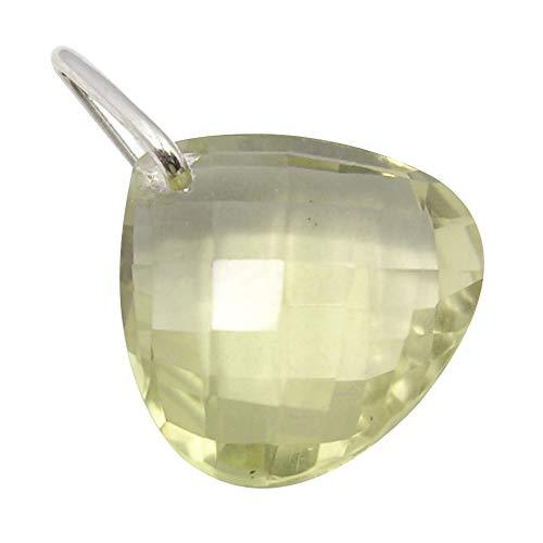SilverStarJewel - Colgante de plata de ley y cuarzo limón Tcw 8,8 cm, 2 cm, 1,6 gramos