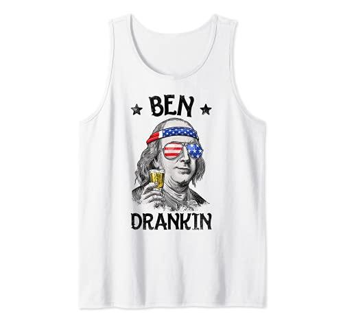 Ben Drankin 4th of July Benjamin Franklin Men Women USA Flag Tank Top