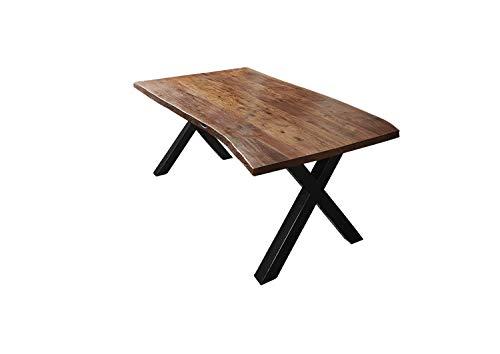SAM Esszimmertisch 180x90 cm Xaver, Baumkantentisch nussbaumfarben, Akazienholz massiv, X-Gestell aus Metall schwarz