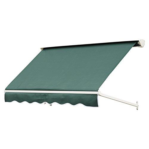 Outsunny Toldo de Ventana Toldo Manual de Aluminio Retráctil para Exterior Toldo de Balcón Ángulo Ajustable Impermeable Tela de Poliéster 180x70cm Verde