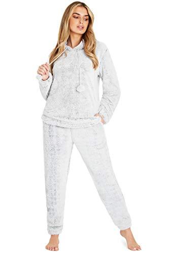 Pijama Mujer Invierno Suave Cómodo Con Plumas Prosecco Estrellas Vario Estilos Pijamas Invernal Regalo Para Ella (Capucha Dos Tonos Gris, S)