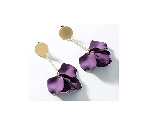 LYQZ Pendientes Mujer Temperamento Largo Pendientes de Plata esterlina Pendientes Mujer (Color : Purple)